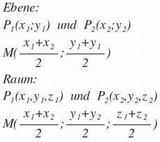 mittelpunkt einer strecke berechnen formel beispiele