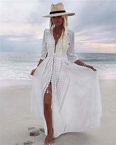 Picture Of A White Boho Lace Maxi Dress With Sleeves