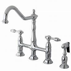 kitchen bridge faucets kingston brass 2 handle bridge kitchen faucet with side sprayer in chrome hks1271talbs