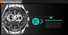 mens watch tvg stainless steel luxury clock fashion blue binary sports led watch wristwatches
