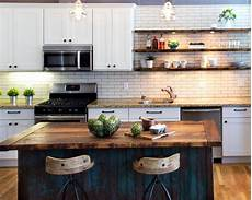 A Distressed Wood Kitchen Island Beautifully Complements