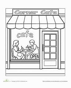 coloring pages places in town 18038 paint the town cafe places articles and preschool