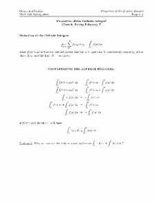 properties of the definite integral worksheet for higher ed lesson planet