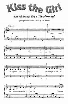kiss the girl the little mermaid easy piano sheet music guitar chords walt disney easy