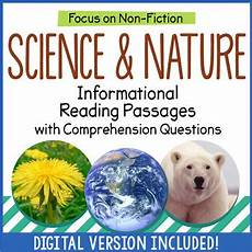 nature reading comprehension worksheets 15108 reading comprehension passages science and nature distance learning