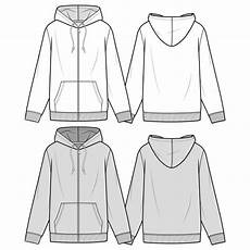 zip up hoodie mode flache skizze vorlage premium vektor