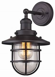 seaport 1 light sconce industrial outdoor wall lights and sconces by elk group international