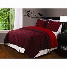 global trends buffalo plaid quilt set red black walmart com