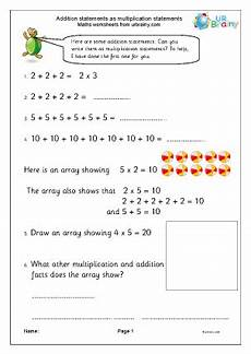 writing addition and multiplication sentences worksheets 22118 addition sentences as multiplication sentences