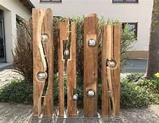 Altholzbalken Mit Silberkugel Modell 8 Gartendeko Holz