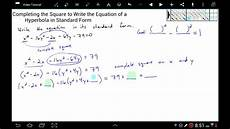 completing the square to write the equation of a hyperbola