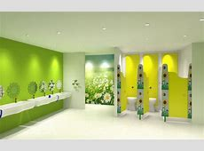 Nursery toilet cubicle designed for children with