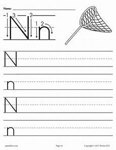 worksheets on letter n 24156 free printable letter n handwriting worksheet supplyme