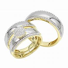 his and hers diamond wedding ring sets 10k gold engagement his and hers trio diamond wedding ring 0 5ct