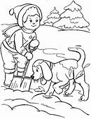 Dog With Kid Winter Coloring Pages  For