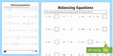 balance equations using missing numbers worksheet