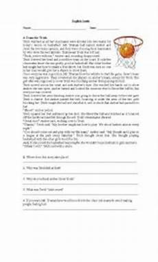 english worksheets basketball reading comprehension