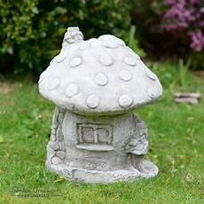 mushroom house garden ornament cast stone home patio decor onefold uk ebay