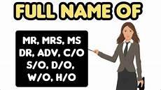 full form c o s o d o h o w o mr mrs ms full name