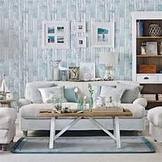 coastal living room with wood effect wallpaper living