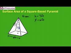 surface area square based pyramid