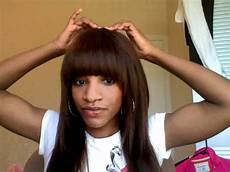 sew in weave with bangs youtube