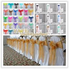 cheap wedding decorations organza bow chair cover sash bow wedding anniversary party banquet
