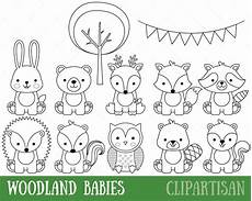 baby forest animals coloring pages 17512 woodland animals digital sts baby animal digital st woodland coloring page