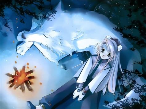 Anime Girl With Wolf