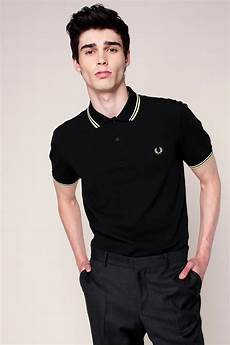 lyst fred perry polo shirt in black for