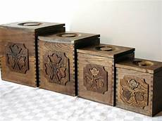 wooden canisters kitchen sears vintage wooden kitchen canisters set of 4 storage
