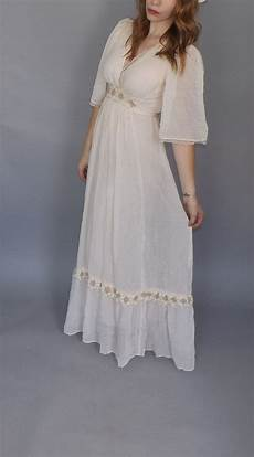vintage 1970s gauzy cotton gown white lace maxi dress
