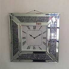 crush mirrored square wall clock picture