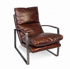 sessel leder sessel in patina vintage braun leder und metall sechziger