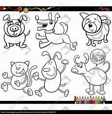 Malvorlagen Zahlen Xing Dogs Set Malvorlagen Stockfoto 14066751