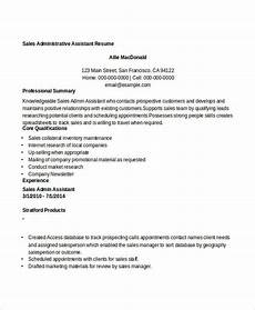 resume sle administrative asistant 8 sle sales assistant resumes free sle exle format download free premium templates