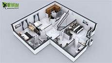 Artstation 3d Floor Plan Of 3 Story House With Cut