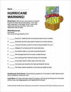 hurricane warning scavenger hunt education world