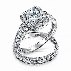 925 silver princess cut cz engagement wedding ring set