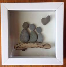 Pebble Family Of 3 Representation Shadowbox Driftwood