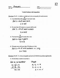 verbal problems with inequalities worksheet i2 answers pdf