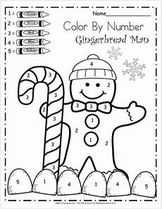 free kindergarten math worksheets for winter color by number madebyteachers