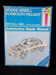old cars and repair manuals free 2010 dodge caravan free book repair manuals 1981 1989 dodge aries plymouth reliant k car haynes repair manual 723 plymouth reliant repair