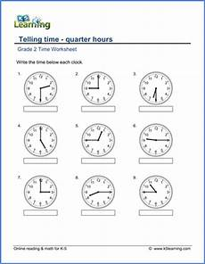 printable worksheets telling time quarter hour 3772 grade 2 telling time worksheets reading a clock quarter hours k5 learning