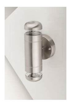 large brushed chrome outdoor ip44 stainless steel up down wall light 5060451894158 ebay