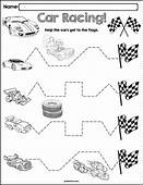 Trace The Pattern Race Cars Worksheets  Fine Motor