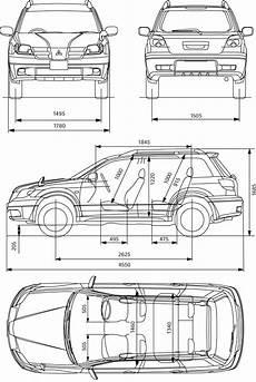 Mitsubishi Outlander Abmessungen - mitsubishi outlander 2004 blueprint free