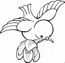 vogel mit blume ausmalbild malvorlage comics