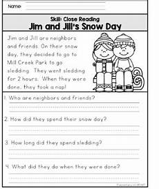 winter reading worksheets 20078 reading comprehension printable worksheets winter by elementary at
