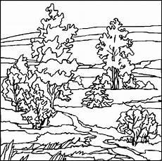 baum in einer landschaft ausmalbild malvorlage